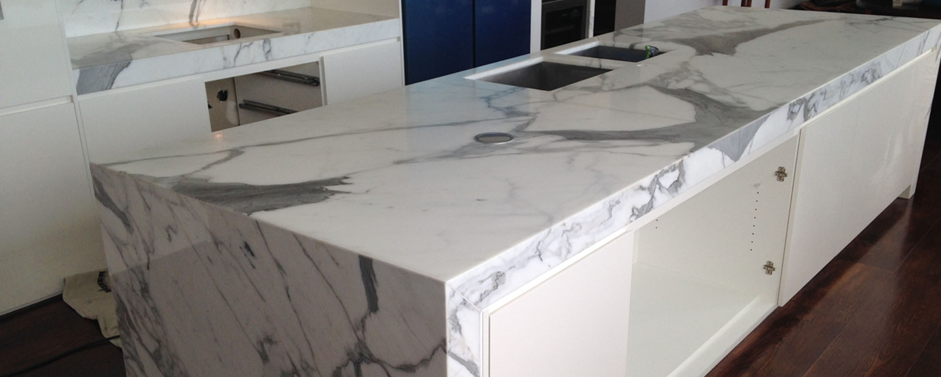 milan white marble installation melbourne benchtop top bench kitchen benctops projects suppliers